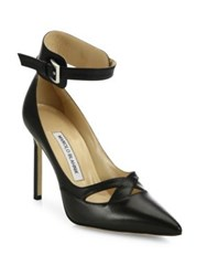 Manolo Blahnik Tsana Leather Ankle Cuff Pumps Black