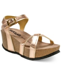 Muk Luks Lillith Platform Wedge Sandals Women's Shoes Rose Metallic