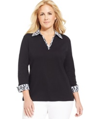 Karen Scott Plus Size Leopard Print Layered Look Top Deep Black