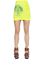 Dsquared Logo Printed Cotton Blend Jersey Skirt