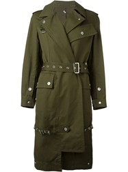 Dondup Belted Trench Coat Green