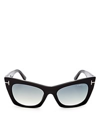 Tom Ford Kasia Square Cat Eye Sunglasses 59Mm Black Gradient Smoke
