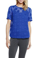 Women's Vince Camuto 'Big Dot' Sheer Jacquard Tee With Camisole Sapphire