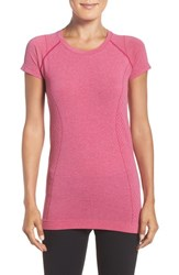 Zella Women's 'Level Up' Seamless Tee Pink Sport Heather