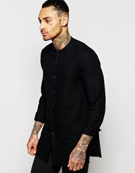 Asos Black Shirt In Longline With Loose Weave Black