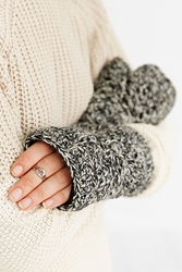 Urban Outfitters Fleece Lined Crochet Fingerless Glove Black And White