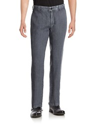 Black Brown Straight Leg Linen Pants Dark Slate Blue