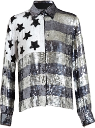 Filles A Papa Sequinned American Flag Shirt Grey