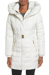 Kensie Women's Belted Hooded Down And Feather Fill Coat Winter White