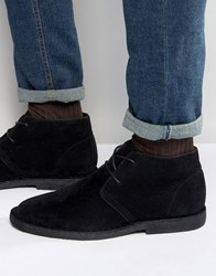 Asos Desert Boots In Black Faux Suede Black