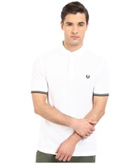 Fred Perry Concealed Placket Shirt White Men's Short Sleeve Pullover