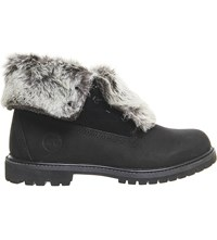 Timberland Leather Faux Fur Fold Down Boots Black Nubuck