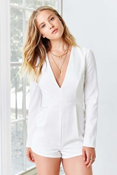 Silence And Noise Silence Noise Seamed Deep V Romper White