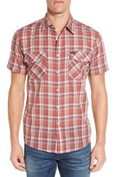 Brixton Men's 'Memphis' Trim Fit Plaid Short Sleeve Woven Shirt Red Cream