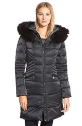 1 Madison Women's Down And Feather Fill Coat With Genuine Fox Fur Black