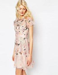Needle And Thread Floral Tiered Embellished Dress Pink