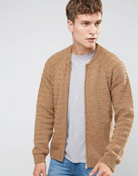 Asos Knitted Bomber Jacket In Wool Mix Camel Brown