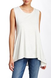 Painted Threads Sleeveless Hi Lo Knit Tank White