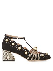 Gucci Ofelia Embellished Suede And Elaphe Pumps Black White