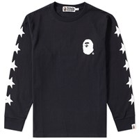 A Bathing Ape Long Sleeve Multi Logo Tee Black