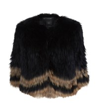 Set Contrast Tipped Fox Fur Jacket Female Black