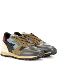 Valentino Rockrunner Printed Leather And Suede Sneakers Green