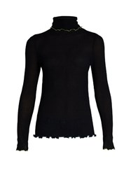 Trademark Contrast Trim Roll Neck Silk Sweater Navy