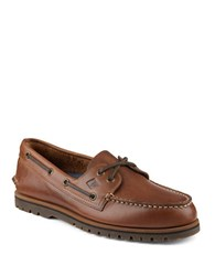 Sperry Authentic Original Leather 2 Eye Mini Lug Boat Shoes Tan