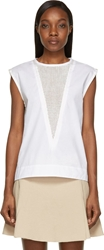 Isabel Marant White V Neck Mesh Wes Blouse