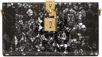 Dolce And Gabbana Black Plexiglass Lace Clutch