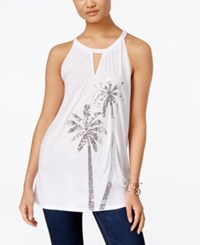 Inc International Concepts Embellished Keyhole Halter Top Only At Macy's Bright White