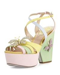 Rene Caovilla Butterfly Colorblock Snakeskin Wedge Sandal Pink Yellow Green Multi