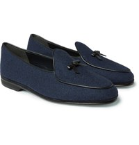 Rubinacci Marphy Leather Trimmed Flannel Loafers Navy