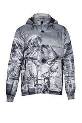French Connection Men's Moutain Pass Print Padded Jacket Monochrome