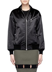 Alexander Wang Collared Satin Bomber Jacket Black