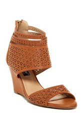 Elegant Footwear Susii Perforated Wedge Sandal Brown