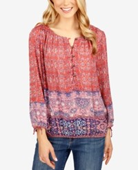 Lucky Brand Printed Peasant Top Red Multi