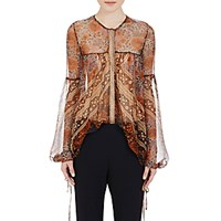 Chloe Women's Mixed Floral Silk Plisse Blouse Brown Orange No Color Brown Orange No Color