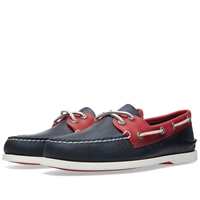 Sperry Topsider Authentic Original 2 Eye Rubber Collar Navy And Red