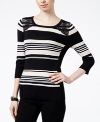 Amy Byer Bcx Juniors' Striped Lace Panel Sweater Oatmeal