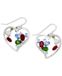 Sis By Simone I Smith Multi Color Crystal Heart Shaped Drop Earrings In Platinum Over Sterling Silver