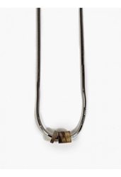 Lanvin Mens Tortoiseshell Ruthenium Bolt Necklace