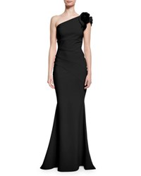 La Petite Robe Di Chiara Boni One Shoulder Ruched Ponte Mermaid Gown Nero