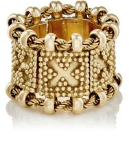 Mahnaz Collection Vintage Women's Square Link And Rope Chain Ring Gold S