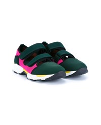 Marni Scuba And Mesh Trainers Dark Green Pink Black White Yellow Multi Colo