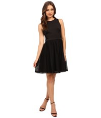 Jessica Simpson Solid Fit Flare Dress With Lace Skirt Js6d8661 Black Women's Dress