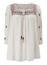 Miss Selfridge Embroidered Gypsy Blouse White