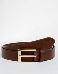Asos Smart Belt In Brown Faux Leather