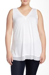 14Th And Union V Neck Trimmed Tank Plus Size White