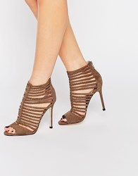 Faith Khaki Caged Heeled Sandals Khaki Green